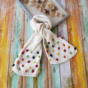 Modcloth Sweet Treat Rainbow Pom-Pom Winter Scarf